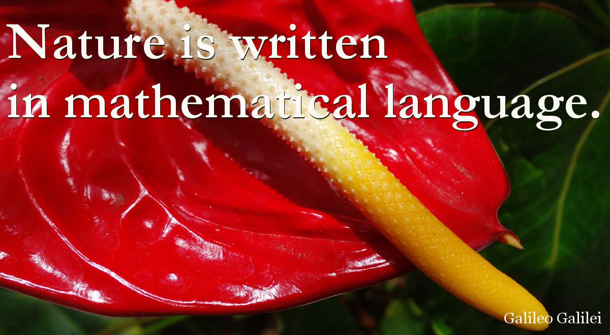 Nature is written in mathematical language - Galileo Galilei