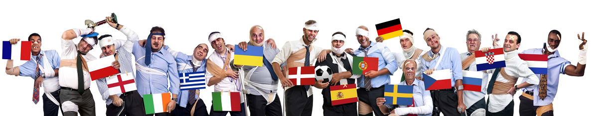 Complete group of injured businessmen with flags in Euro cup 2012
