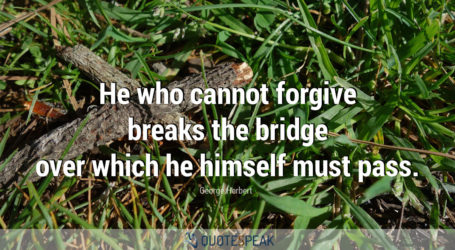 He who cannot forgive breaks the bridge over which he himself must pass - George Herbert