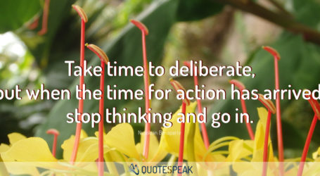 Action Quote: Take time to deliberate, but when the time for action has arrived, stop thinking and go in - Napolean Bonaparte