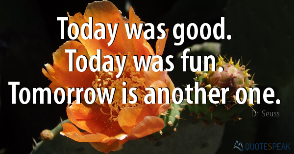Today was good - Today was fun - Tomorrow is another one - Dr Seuss