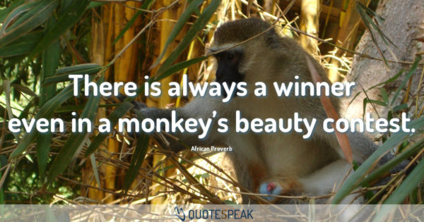 There is always a winner even in a monkey's beauty contest - African Proverb