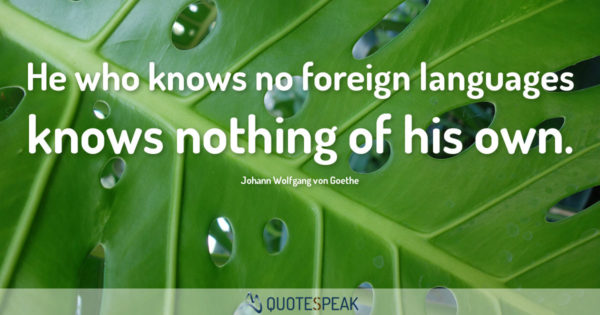 Language Quote: He who knows no foreign languages knows nothing of his own - Johann Wolfgang von Goethe