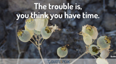 Time Quote: The trouble is, you think you have time - Buddha